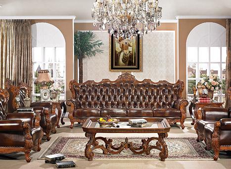 美式进口真皮实木沙发