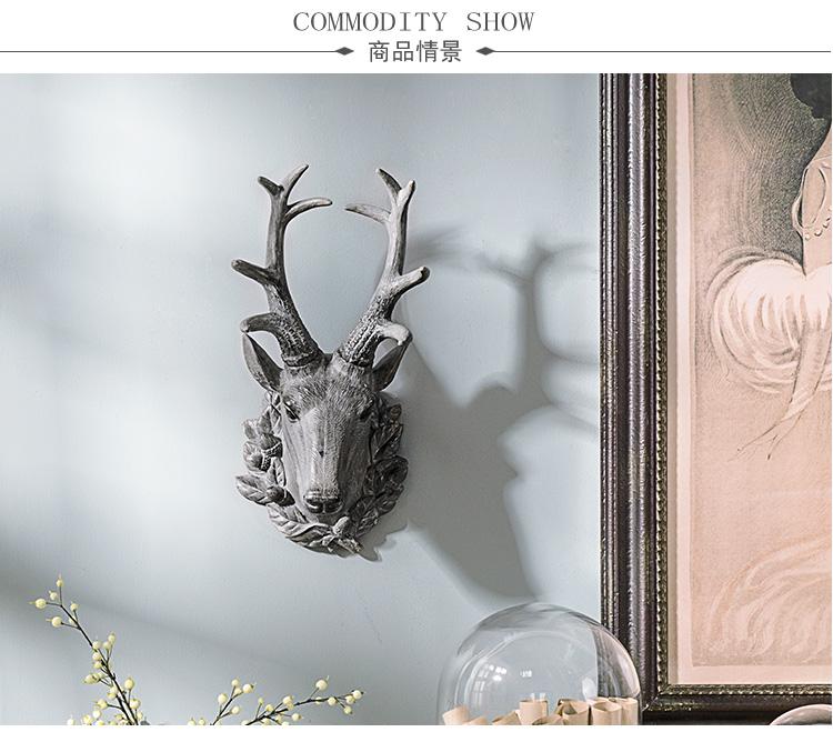 家饰摆件 蒙蒂复古招财鹿头壁挂壁饰图片