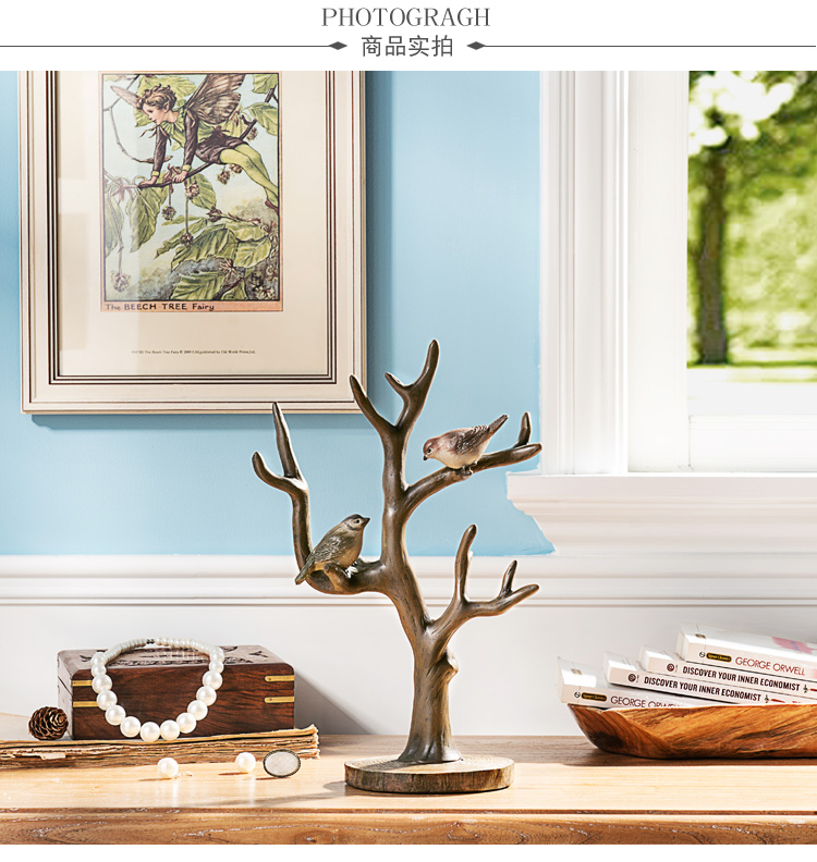 家饰摆件 麦德彩色手绘树鸟首饰架