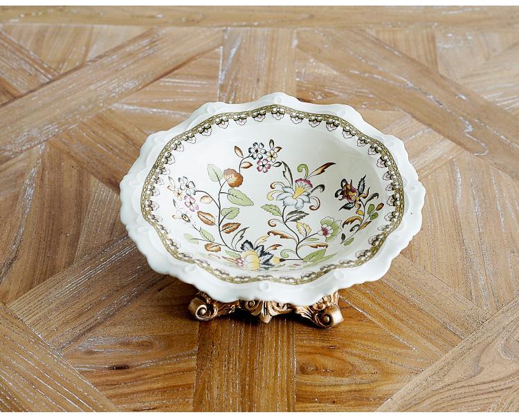 可莉尔裂纹贴花陶瓷 圆形果盘小号